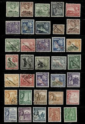 Malta ************** 1938-1956 Used Selection ************** 35 Different