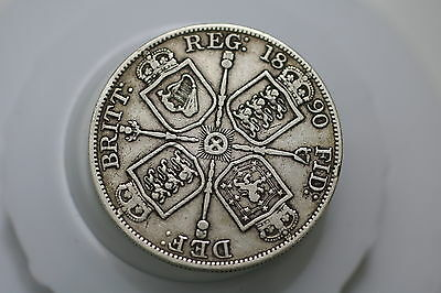 Uk Gb Double Florin 1890 Silver Victoria A69 #9997