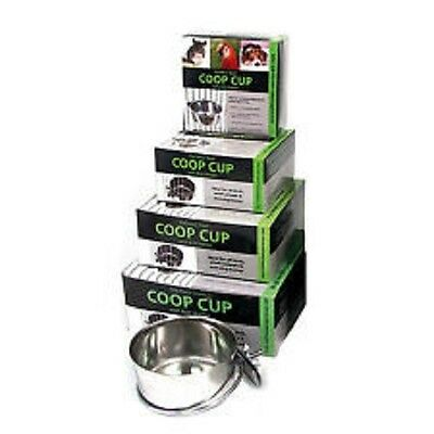 Stainless Steel Bolt On Metal Coop Cup Small Pet Bird Dog Crate Food Water Bowl