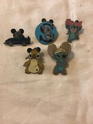 WDW Disney Disneyland Stitch Pins Lot Of 5 Rare Hidden Mickey Pin Fast Ship