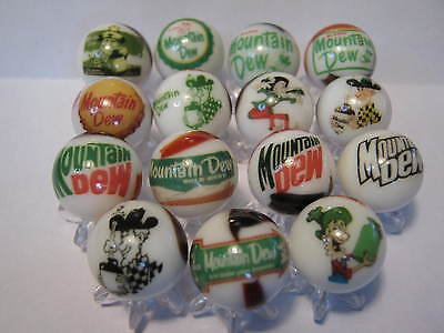 Mountain Dew SODA POP GLASS MARBLES 5/8 SIZE COLLECTION LOT + stands
