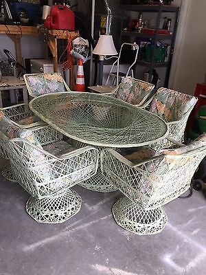 Vintage MCM Spun Fiberglass WOODARD STYLE PATIO TABLE + 6 Swivel Chairs, 2 Rock