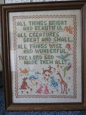Vintage (1950's) Cross Stitch Sampler All Things Bright & Beautiful