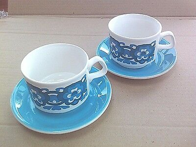 Vintage 1960s cups and saucers, Turquoise retro tableware PAIR Staffordshire