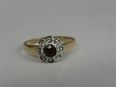 antique 9ct gold paste and garnet ring