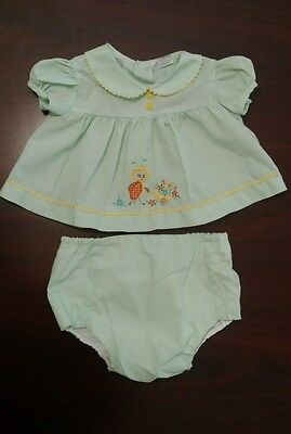 Vintage Cotton Candy Baby Girl lady bug  Dress Green waterproof diaper cover