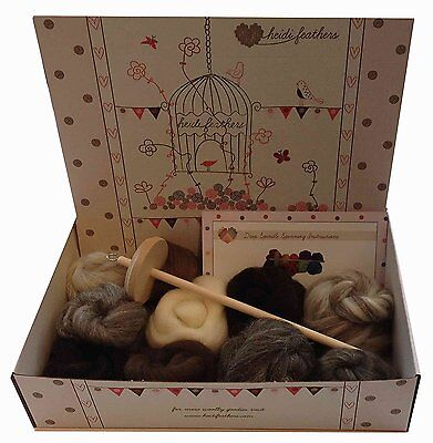 Heidifeathers® Drop Spindle Spinning Kit - With Natural Wool
