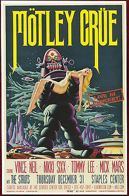 """Motley Crue Los Angeles Final Show Concert Poster 11"""" x 17"""" signed by artist"""
