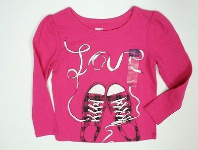 New Girls Epic Threads Fuchsia Pink Shoes W Laces Graphic L/s T-Shirt Sz 2T