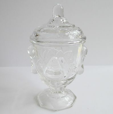Vintage Antique Pressed Glass Pedestal Jar with Lid Candy Dish Pears on Side