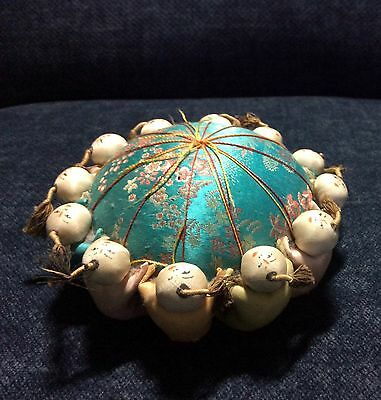 New Vintage Chinese oriental silk pin cushion (12 babies surround) 3 x 4.5 ""