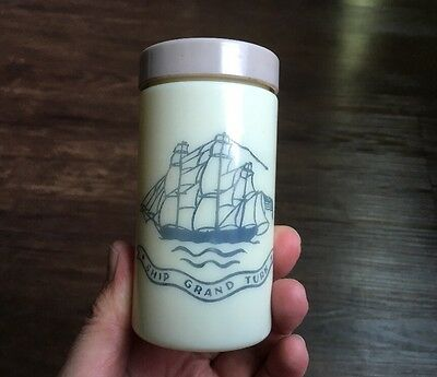 Vintage 1950 Shulton Old Spice Stick Deodorant Ship MILK GLASS Bottle