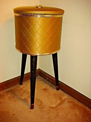 Vintage Gold Round Sewing Stand With A Clear Removable Tray Inside