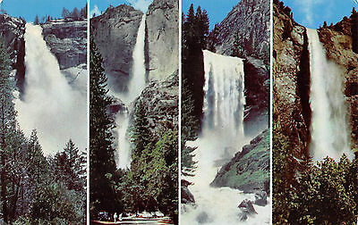 Vintage Chrome Standard Postcard Four Falls Yosemite National Forest Multiview