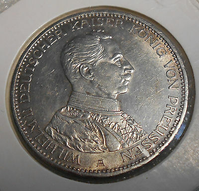 Germany Prussia 3 Mark Silver Coin 1914 A  Cirrculated Wilhelm II