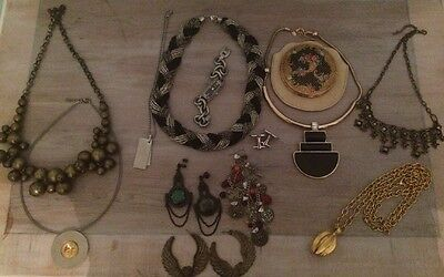 Mixed Costume Jewellery Lot-DKNY watch-Allsaints Earrings-compact-M&S
