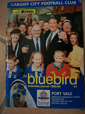 Cardiff City Football Programme 26th Feb / 3rd May 1994 Port Vale