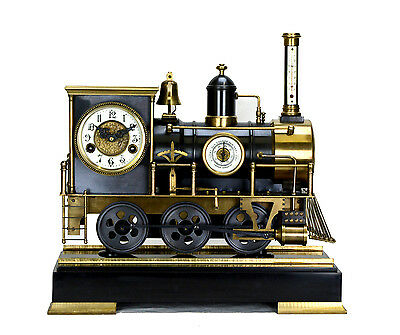 Large French Style 8 Day Brass Automaton Locomotive Industrial Train Clock