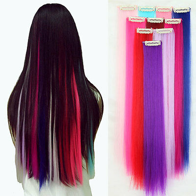 Straight Clip In On Colorful Hair piece Natural Hair Extension Highlight 10p/set