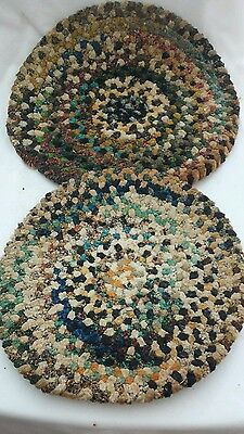 Set Of 2 Vintage Wool Braided Rag Rug Chair  Table Hot Pads Thick Colorful L@@k