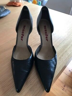 Scooter Patent Black and Grey Suede Pumps Size 8.5
