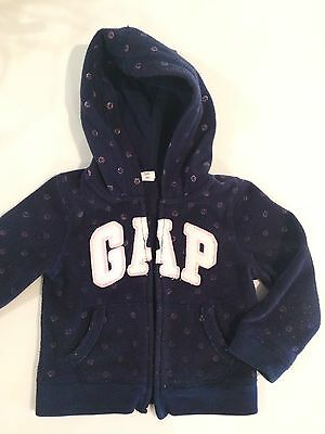Gap Toddler Girls Blue White Polka Dots Hooded Zip Jacket, Cotton, 2T