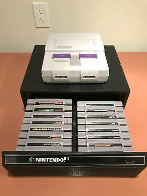 Super Nintendo Lot with rare games and rare game holder!