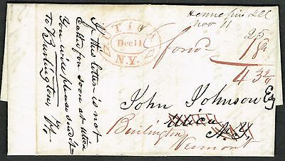 Nice Original 1834 Hennepin IL Letter Forwarded From Utica NY to VT! MS & HS!
