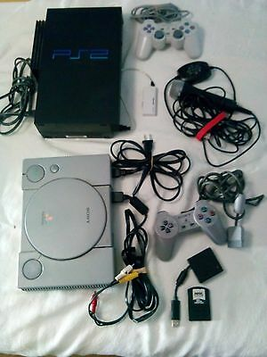 Lot of Video Game Controllers Attachments -Play Station 2-Sony PlayStation-Micr,