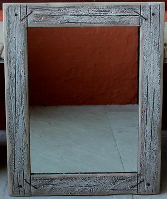 Recycled  Rustic  Solid  Wood Wall Mirror   60cm x 47cm   BRAND NEW  * REDUCED *