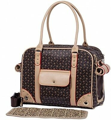 Pet Bag Carrier Puppy Chihuahua Faux Leather Handbag Tote Yorkie Cat Den Travel