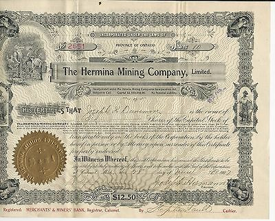 Ontario the Hermina Mining Company, Limited stock certificate 1907