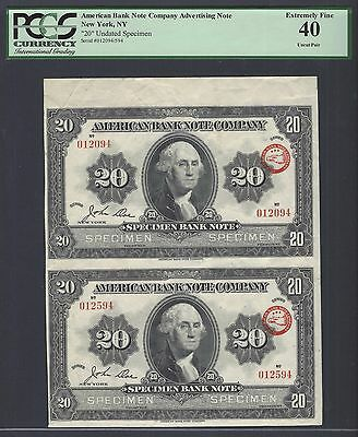 United State -American Advertising Notes Uncut Sheet 20 Undated Specimen XF