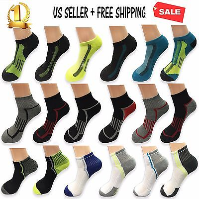 1 Dozen 6 12 Pairs Ankle Crew Men Socks Cotton low cut Multi-Size Sport Athletic