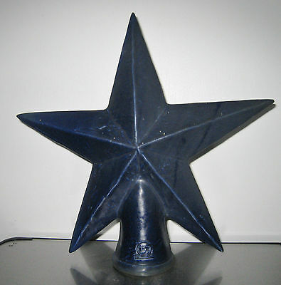 RARE Rowe Pottery Works RPW Salt Glaze Pottery Christmas Tree Topper Star Cobalt