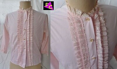 40s 50s LACE TUXEDO blouse ROCKABILLY PINK PINUP M L 38 shirt SWING ROMANTIC top