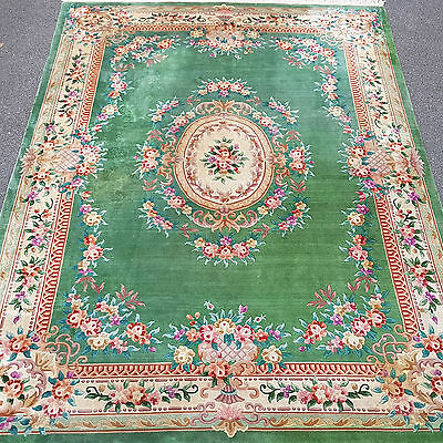 "Chinese Emerald Green Washed Sculpted Fringed Carpet 12'10""x9'1"" (392x276cm Rug)"