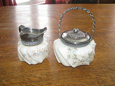 Rare antique wave crest pattern creamer and lidded jar