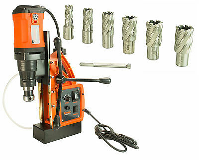 """Cayken SCY-42HD 1.65"""" Magnetic Drill Press with 7PC 1"""" Annular Cutter Kit"""