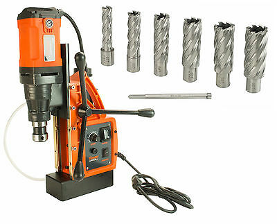 """Cayken SCY-42HD 1.65"""" Magnetic Drill Press with 7PC 2"""" Annular Cutter Kit"""