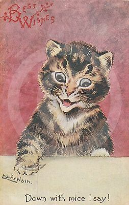 """a/s LOUIS WAIN """"Down with mice I say!"""" CAT Postcard C W Faulkner E C Series 453D"""