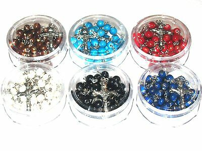"""Lot of 6 Rosaries 21"""" RED, WHITE, BLACK, BLUE, TURQUOISE, BROWN BEADS Jerusalem"""