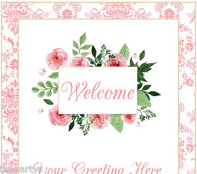 CUSTOM Peachy Pink Flowers and Damask Ebay Compliant Auction Template Listing