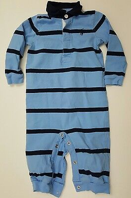Ralph Lauren baby boys 9 months one piece polo outfit romper blue striped shirt