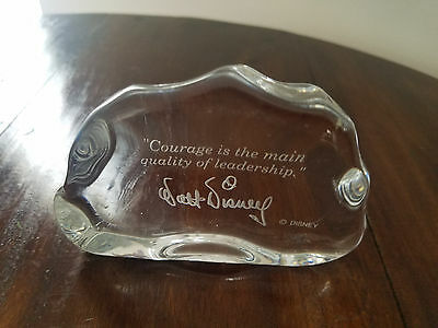 """walt Disney"" Glass Paperweight  "" Courage Is The Main Quality Of Leadership"""