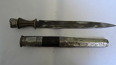Antique Tibetan Dagger Knife With Silver Accents