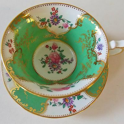 Beautiful Rare R.h. Stearns & Co.boston Pattern Green Floral Cup And Saucer Nice