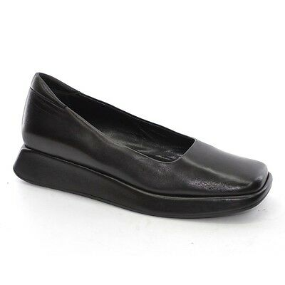 PRADA size 36 Low Wedge LOAFERS Black Leather Square Toe SHOES Made in Italy