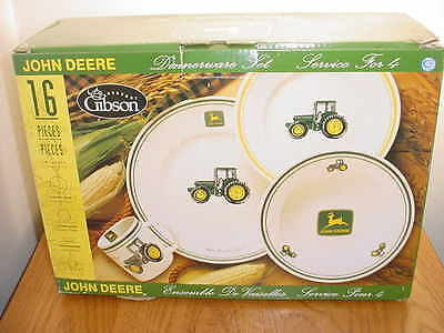 Nib Gibson 16 Piece (Service For 4) John Deere Dinnerware Dishes (2 Available)