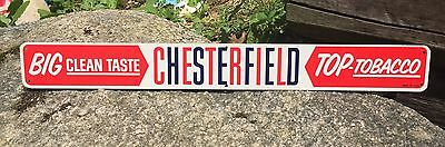 Vintage CHESTERFIELD Big Clean Taste Top Tobacco Tin Door Push Sign 19x2
